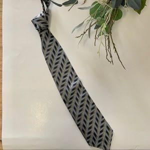 Italian Silk Zianotti Gray Black & Blue Silk Tie
